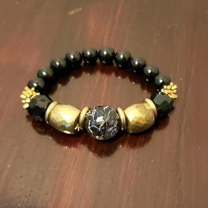 Vintage beaded faux marble goldtone bracelet